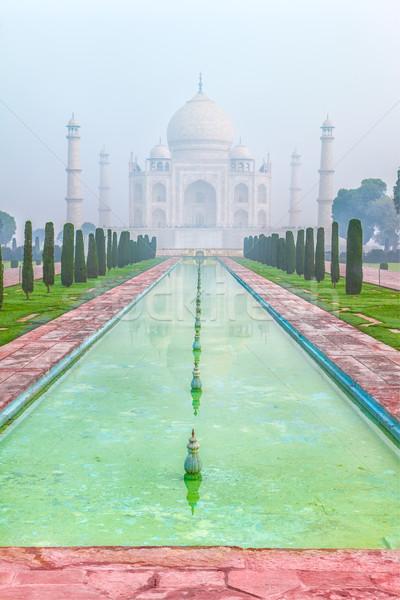 Taj Mahal Inde pâle matin brouillard bâtiment Photo stock © zastavkin