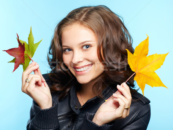 girl in leather jacket Stock photo © zastavkin