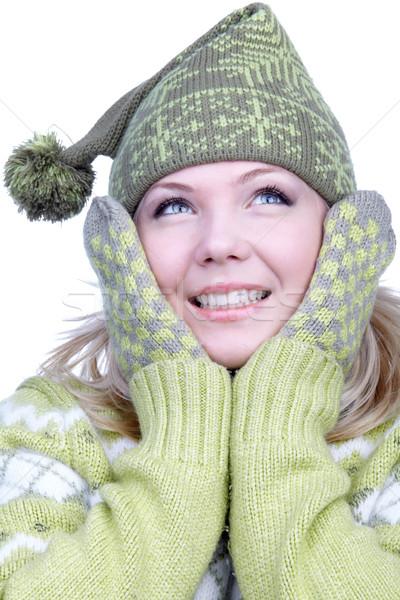Fille chaud vêtements portrait belle rêveur Photo stock © zastavkin