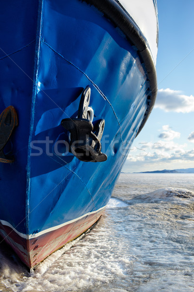 boat in frozen baikal Stock photo © zastavkin