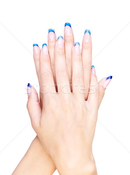 Stockfoto: Blauw · handen · professionele · frans · nagels