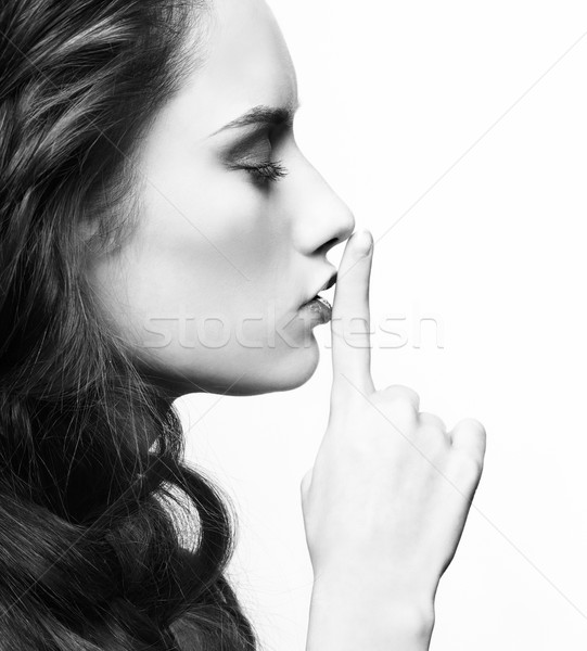 Silence coiffure portrait belle brunette fille Photo stock © zastavkin