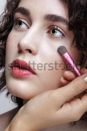 Roken meisje portret jonge gezicht Stockfoto © zastavkin
