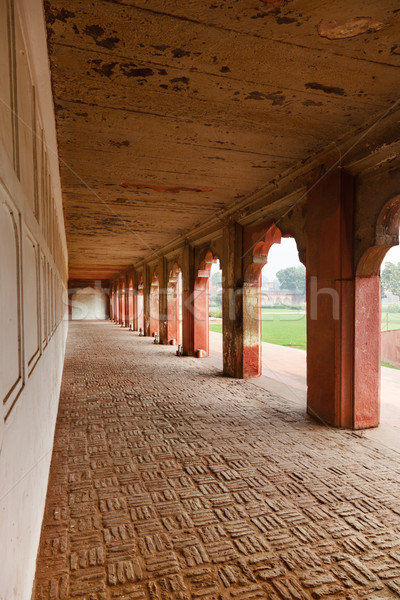 Red sandstone arches of the inner courtyard of Agra Red Fort Stock photo © zastavkin