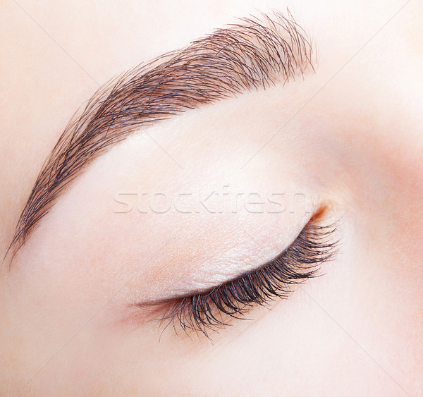 Female closed eye and brows with day makeup Stock photo © zastavkin