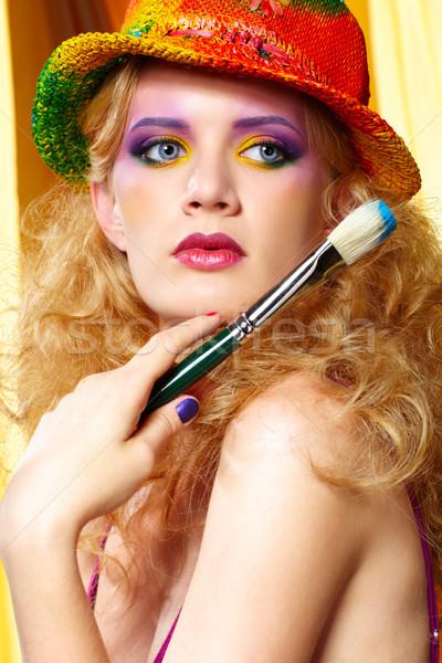 Stockfoto: Vrouw · kunstenaar · penseel · portret · mooie · blonde · vrouw