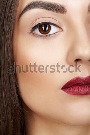 Tiro cara da mulher jovem morena noite Foto stock © zastavkin