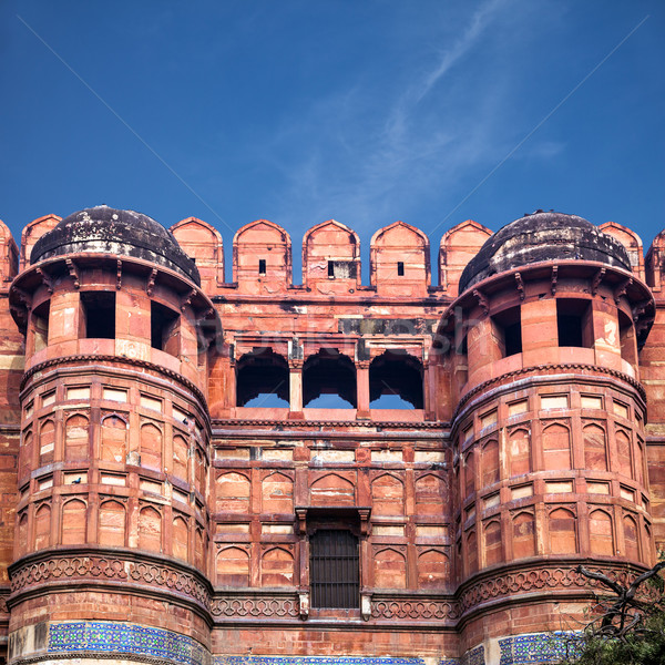 Stock photo: Entrance towers of Red Agra Fort in India