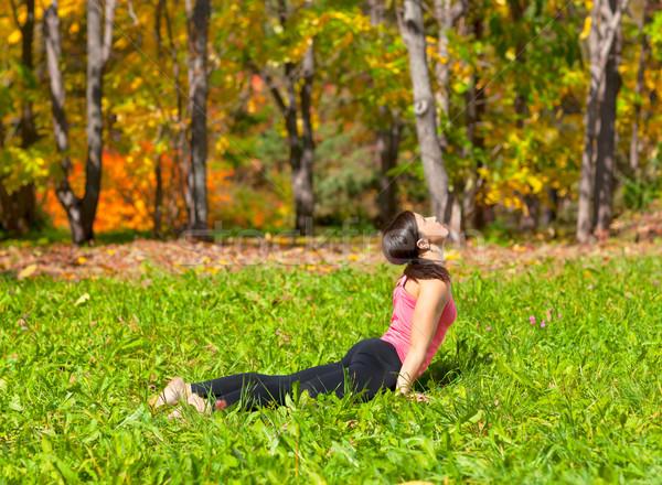 Yoga urdhva mukha shvanasana pose Stock photo © zastavkin