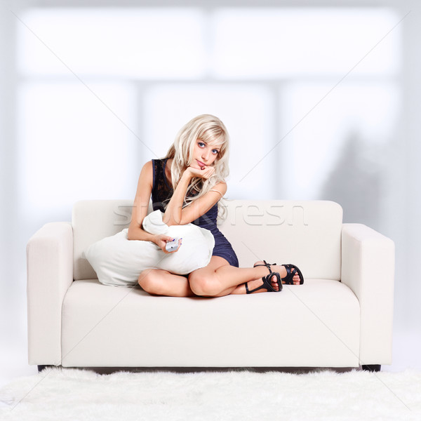 девушки пультом портрет красивой молодые Сток-фото © zastavkin