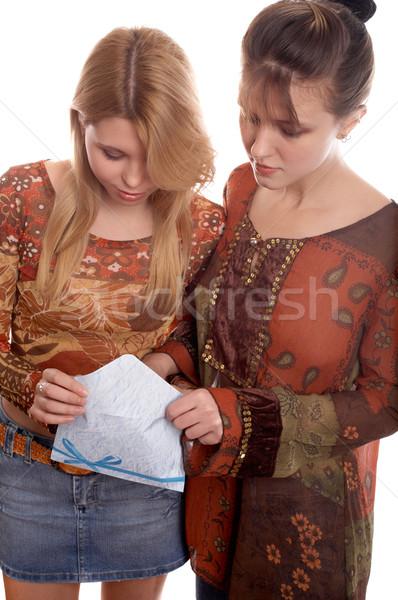 Girls with envelope Stock photo © zastavkin