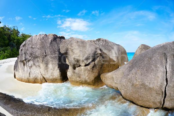 Stock fotó: óceán · tengerpart · szigetek · felhők · tájkép · tenger