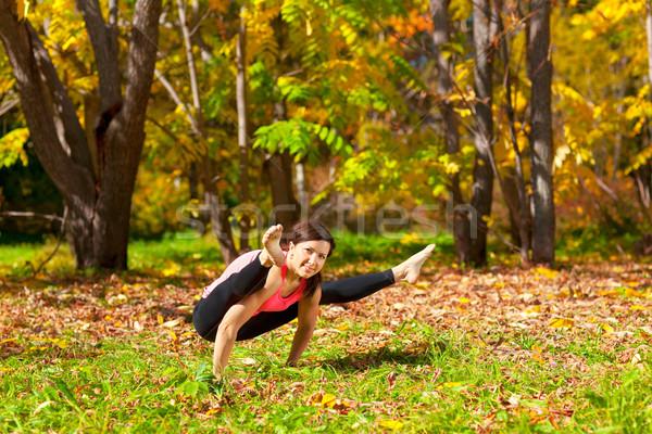 Yoga posent femme automne forêt herbe Photo stock © zastavkin