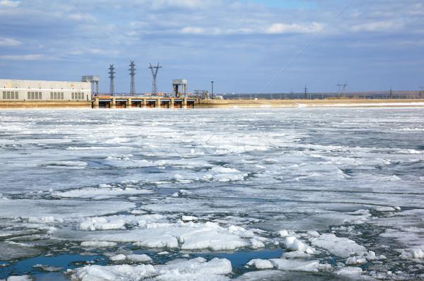 Ice drift and hydropower station Stock photo © zastavkin