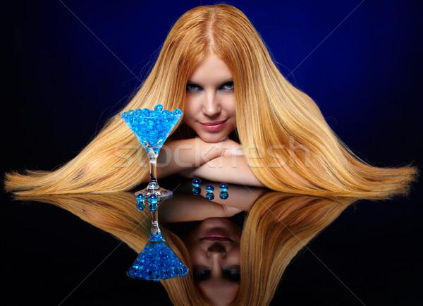 Mooie meisje Blauw gel Stockfoto © zastavkin