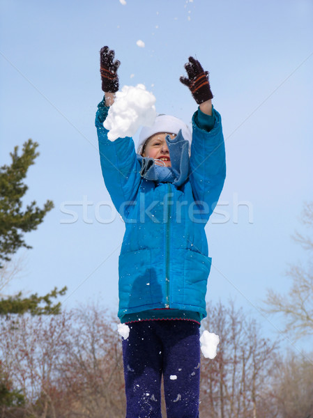 Young girl playing with snow Stock photo © zastavkin