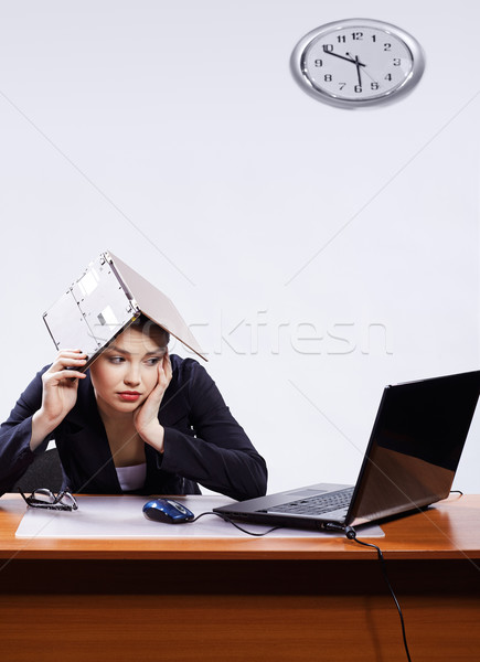 businesswoman with two laptops Stock photo © zastavkin