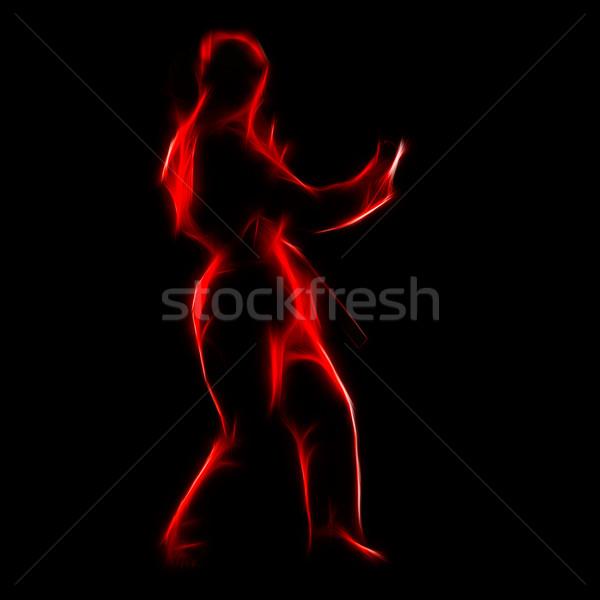 Fractal portret karate meisje silhouet mooie Stockfoto © zastavkin
