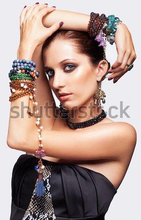 Photo stock: Belle · femme · bijoux · portrait · jeunes · belle · brunette