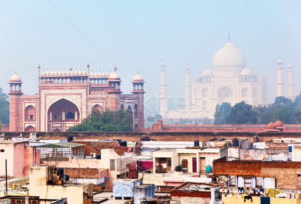 Indian architecture, view over Agra in morning mist Stock photo © zastavkin