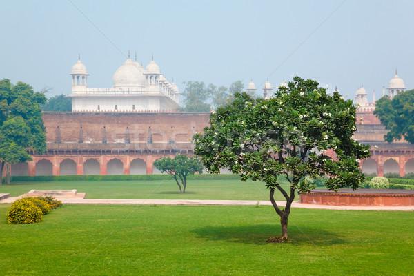 красный форт Индия зеленая трава газона дерево Сток-фото © zastavkin