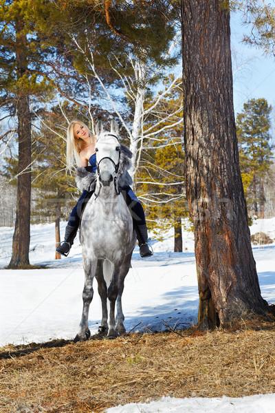 Stockfoto: Mooi · meisje · paard · outdoor · portret · mooie · blond
