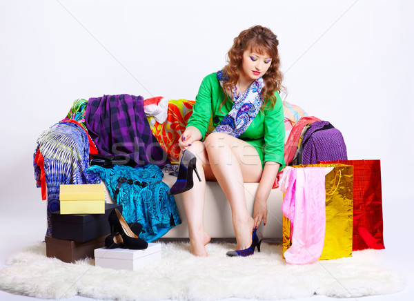 shopaholic woman with purchases Stock photo © zastavkin