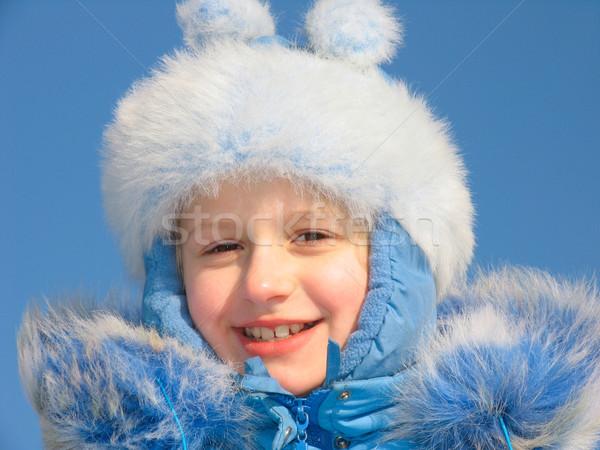 Winter portrait of laughing girl Stock photo © zastavkin