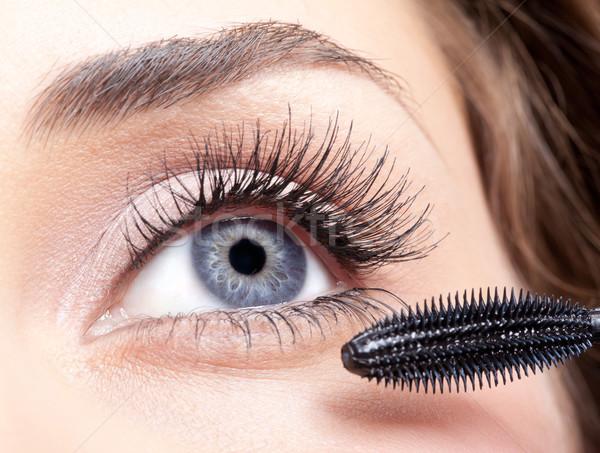 Zdjęcia stock: Tusz · do · rzęs · makijaż · młodych · piękna · kobieta · oczy