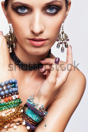 Photo stock: Belle · femme · bijoux · portrait · jeunes · belle · brunette