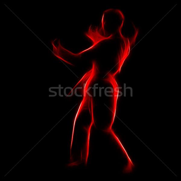 Porträt Karate Mädchen Silhouette schönen Stock foto © zastavkin