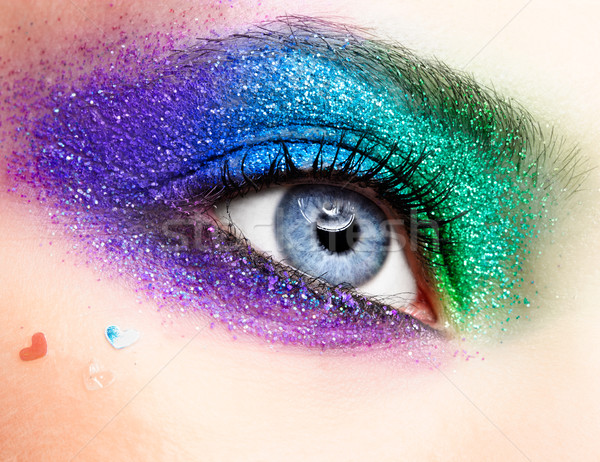 Tatil göz makyajı kadın kadın yeşil Stok fotoğraf © zastavkin
