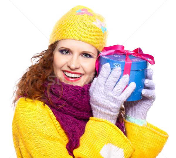 Belle fille heureuse cadeau heureux jeune femme présents Photo stock © zastavkin