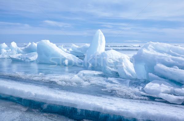 Kış açık görmek buz bloklar dondurulmuş Stok fotoğraf © zastavkin