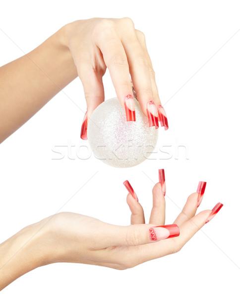 Acrylique clous manucure mains rouge français Photo stock © zastavkin
