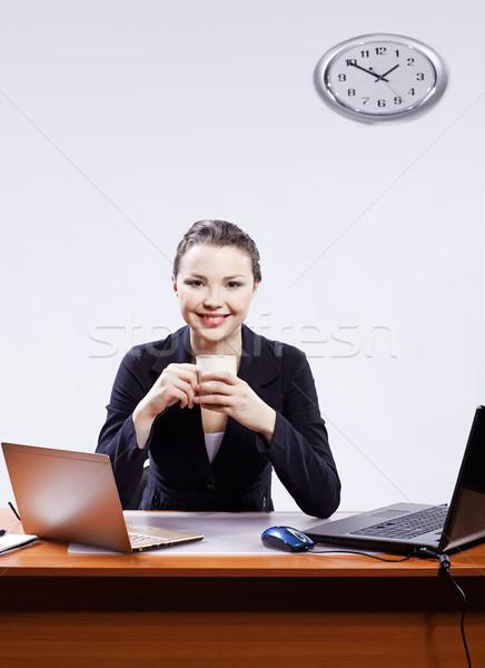 Femme d'affaires deux bureau portrait belle Photo stock © zastavkin
