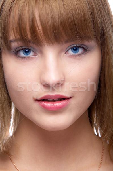 Vonzó nő közelkép portré gyönyörű modell Stock fotó © zastavkin