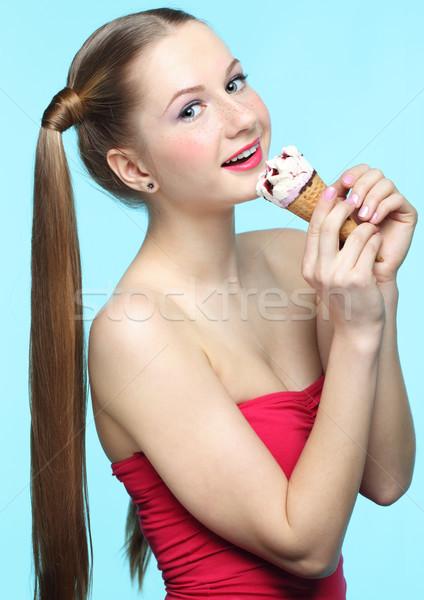 Young woman with ice cream Stock photo © zastavkin