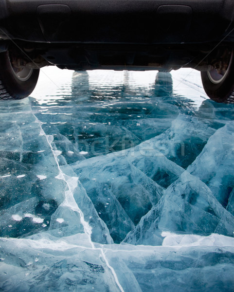 Carro gelo reunir lago inverno azul Foto stock © zastavkin