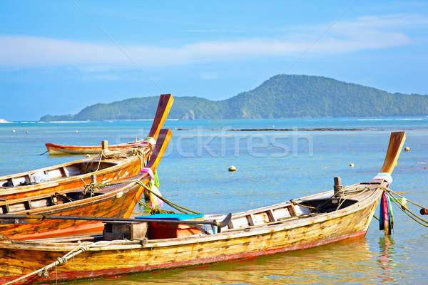 Stock fotó: Halászat · hajók · tenger · Thaiföld · Phuket · felhők