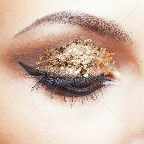 Stockfoto: Gouden · oog · make-up · shot · vrouwelijke · gezicht