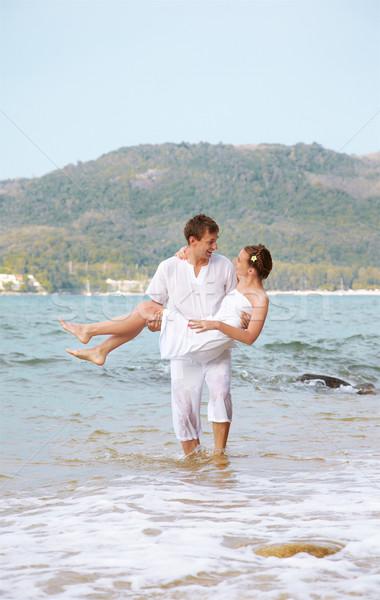 Romântico casal praia ao ar livre retrato jovem Foto stock © zastavkin