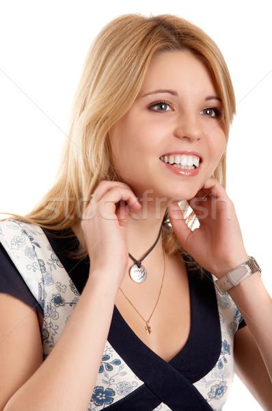 Smiling blonde woman Stock photo © zastavkin