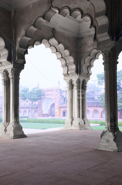 Pillar Gallery in Agra Fort, Uttar Pradesh, India Stock photo © zastavkin