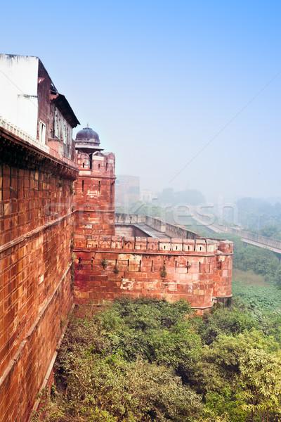 Vermelho vau manhã névoa Índia alto Foto stock © zastavkin
