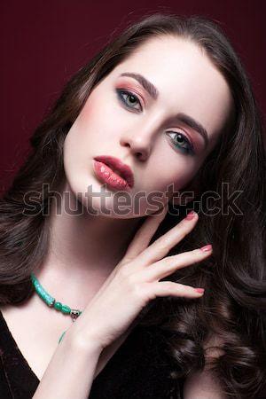 Belo morena retrato menina azul Foto stock © zastavkin