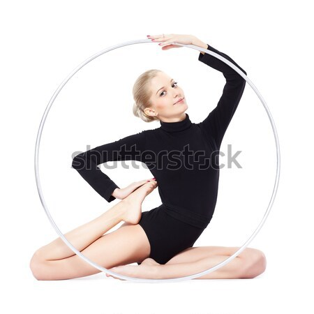 blonde gymnast with hula hoop Stock photo © zastavkin