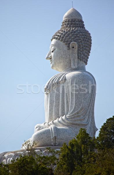 Stock fotó: Nagy · Buddha · Phuket · márvány · szobor · égbolt