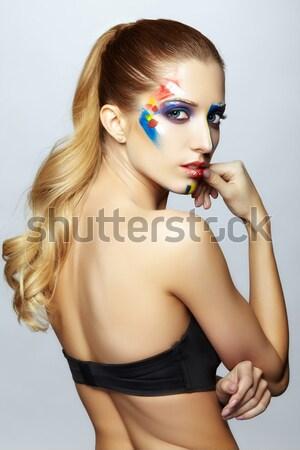 женщину ложный Перу макияж молодые Сток-фото © zastavkin