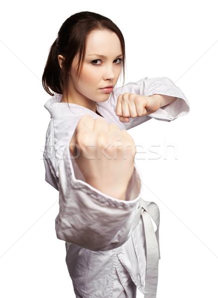 Karate lány izolált portré gyönyörű küzdősportok Stock fotó © zastavkin